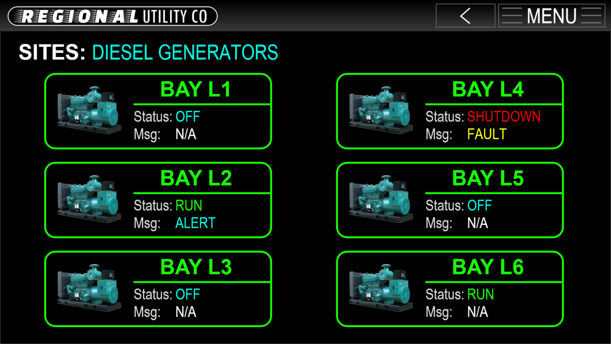 Energy Utility Diesel Generator Graphical Controls Interface GUI Adobe XD Prototype - SITES-GENERATORS