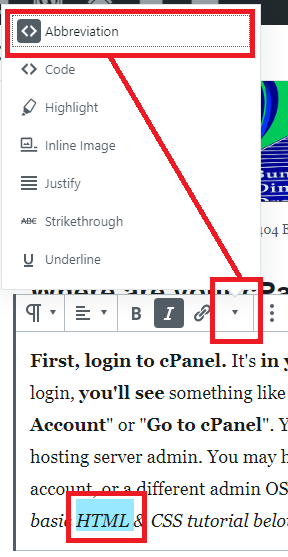 "Gutenberg block when selecting acronym text and clicking ""Abbreviation"" button in toolbar."