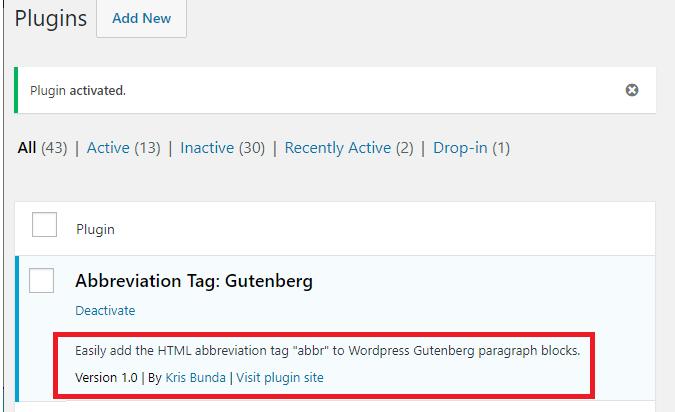 ABBR PLUGIN 4 - v1_0 - Gutenberg block abbr HTML plugin tag - Kris Bunda
