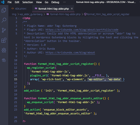 PHP code for a WordPress plugin