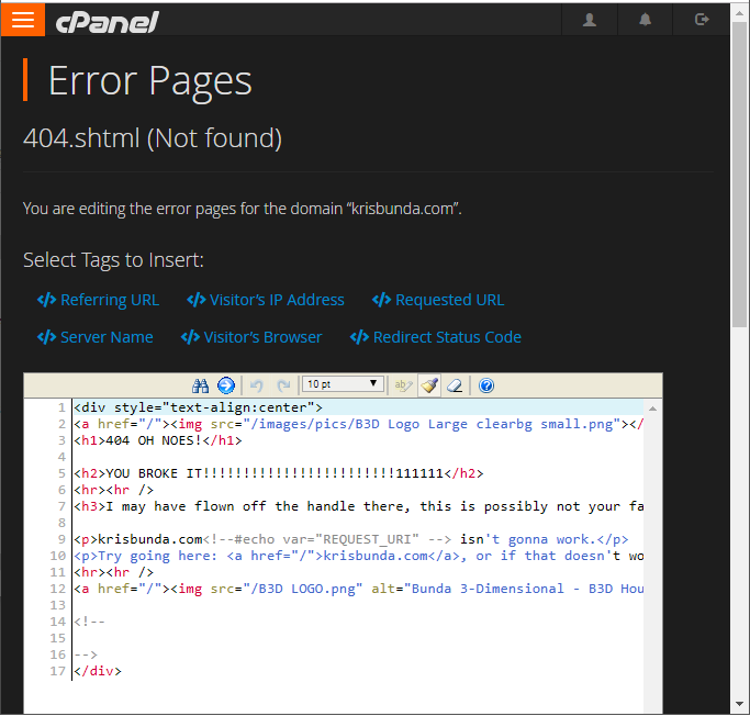Create or Update 404 Error Pages - cPanel - find Error Pages 2