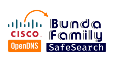 OpenDNS Family Shield logo with arrow pointing to Bunda Family Safe Search logos