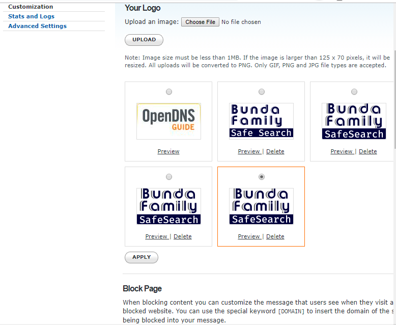 OpenDNS dashboard allows personal branding - logo upload feature