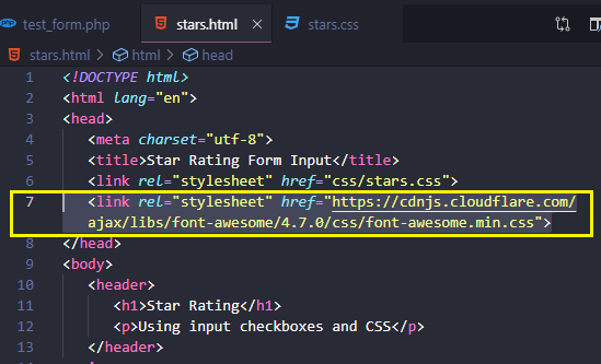 STAR RATING CODE - Font Awesome stylesheet link