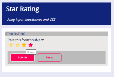 STAR RATING CODE - Input Form using HTML & CSS only