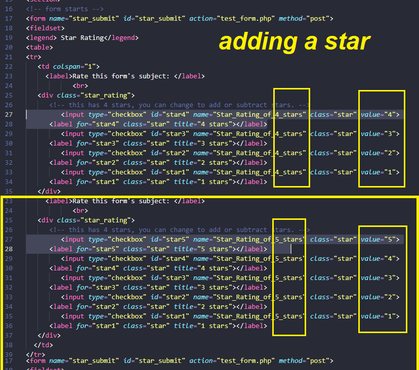 STAR RATING CODE - adding a star - Input Form using HTML & CSS only