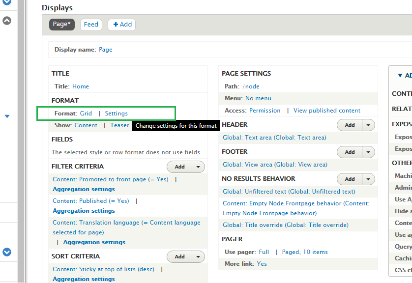 Drupal Admin Custom View settings