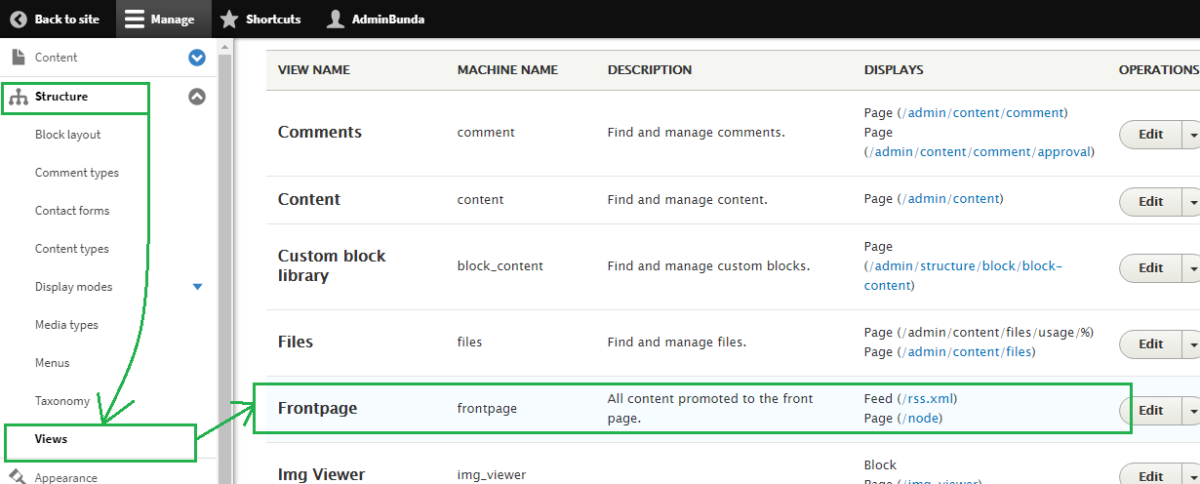 Drupal Admin Structure Views Frontpage Custom Grid
